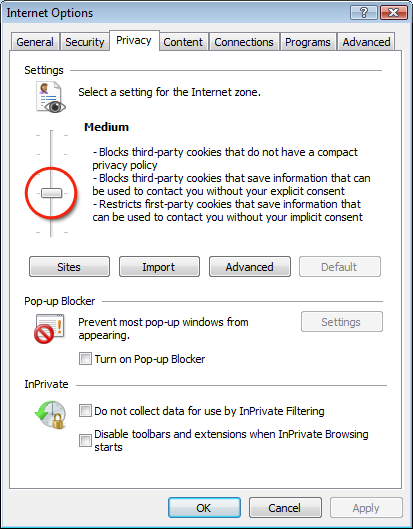 Turn on cookies on IE8