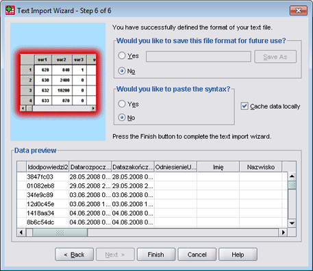 SPSS - CSV import tutorial (step 8)