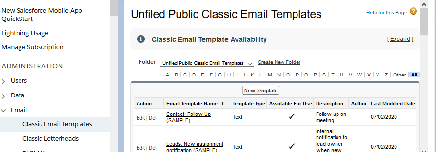 Salesforce - Email Templates